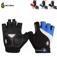 Wholesale Wolfbike Breathable Mountain Road Cycling Gloves D GEL Anti slip Bike Golves Anti shock Half Finger Bicycle Gloves Y0156