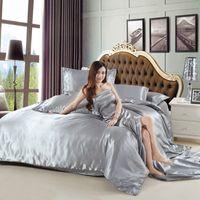 bamboo duvet set - 4 Bamboo Fiber Bedding Set Size Bed Sheet Sets Color Bedclothes Solid Duvet Cover Set Sheet Home Textile X16