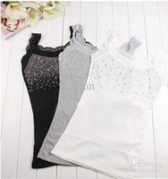 beaded tank clothing - Women s Black Cotton Tanks camis Fashion Lace Beaded Tank Tops tanks Clothes wear
