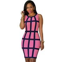 Casual Dresses cap cage - 2016 Women Summer Dress Party Bodycon Dresses Neon Green Black Lemon Black Rosy Black Trim Cage Design Dress