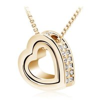 arrival black jewellery - New Arrival K Gold Jewellery Silver Plated Crystal Heart Shape Love Fashion Necklaces Colar Costume Jewelry for Women