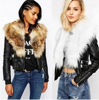 artificial fur coats - Autumn Winter Women Basic Coats Fashion Faux PU Leather Winter Jackets Women Long Sleeve Artificial Fur Collar Coat Female
