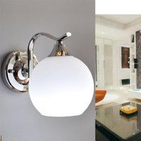 add switch - Simple modern white glass wall lamp bedroom bedside lamp two installation methods can be added switch