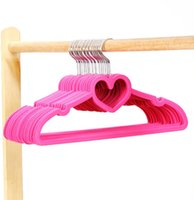 Wholesale Sorplus Pink Flocked Suit Hanger Clothes Hanger with Loving Heart