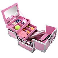aluminum makeup train case - Fashion Mini Portable Extendable Makeup Train Case Aluminum Cosmetic Box Mirror Keys for Women Makeup Lovers
