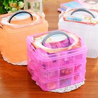 Wholesale The Small Three Removable Plastic Storage Box Transparent Lattice Storage Box Jewelry Box Tool Box Color Random