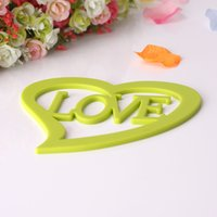 Wholesale Lovely heart shaped large environmental protection silicone insulation mat Ambry of eat mat environmental table mat
