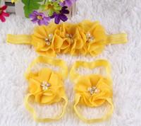 Precio de Sandalias de perlas flores-2016 El nuevo bebé de la flor de flores descalzo con los pies de la perla del pelo flores sandalias de los zapatos de bebé punto de apoyo accesorios para el pelo de las vendas de vinchas establecidos