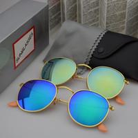 al por mayor glasse diseñador-Gafas de sol redondas del metal Gafas de sol del espejo de las mujeres del Mens del diseñador Gafas de sol del vidrio del flash del oro del diseñador Glasse unisex redondo del sol con los casos y la caja