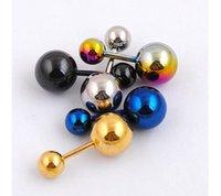 Wholesale Fashion Body Jewelry Stainless Steel Stud Earrings Jeweled Internal Pierced Body Piercing Jewelry Multi color Options