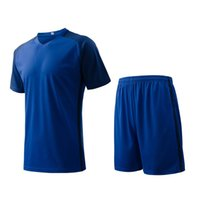 Cheap Blue Men sports wear Athletic training fitness Jogging Clothing jersey and shorts adult running soccer team sets football kits