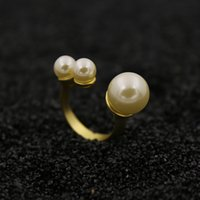 arrangement band - Asymmetric arrangement three pearl ring Fashion Accessories copper k yellow gold plated Personality elegant luxury design fashion jewelry