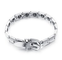 Wholesale ON SALE STAINLESS STEEL BRACELET JEWELRY HEALTH CARING MAGNETIC WITH BELT CLOSURE MM BANGLE TS977