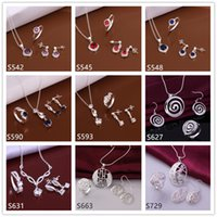 Wholesale women s wedding sterling silver jewelry sets sets Multi Styles DFMS53 gemstone silver Necklace Earring Ring jewelry set