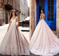 Wholesale Design Blush Pink Bridal Sleeveless Illusion Round Neckline V neck Lace Embellished Bodice Gorgeous Princess Ball Gown Wedding Dress