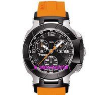 El envío libre de las mujeres T048 Señora Cuarzo Reloj CRONÓGRAFO Dial Negro con correa de silicona de color naranja T048.217.27.057.00