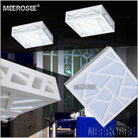 Wholesale Creative LED White Ceiling Lights Polymer Wood Carving Water Cube AC85 V Square Aisle Ceiling Lamp Hallway Porch Light
