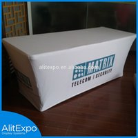 Wholesale Customed full color Dye Sublimation Printed table cloth table cover table throw Fancy Red Disposable Spandex Cocktail Table Cover
