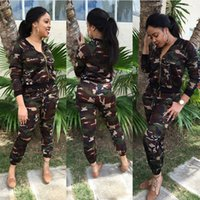 army green pants outfit - Women Tracksuit Set Hot Autumn Winter Camouflage Printed Piece Pants Jackets Clothing Set Casual Sweat Suits Outfit