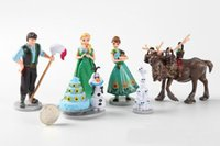 Wholesale 6pcs set Frozen Anna Elsa PVC Action Figures Toys Birthday cake series Classic Collection Toys