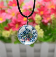 asian silk dress - 24pcs Fashion Bud silk dry flower glass ball Time Gem Flower Pendants Necklaces no Charms beads Cheap Jewelry Gift for Women Party Dress up