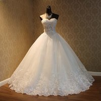 Wholesale 2016 In Stock White ivory Wedding Dress With Beaded Lace Sweetheart Sleeveless Sweep Train Wedding Gowns