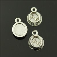 antique silver dishes - 120pcs mm colors antique bronze antique silver plated Dog dish charms