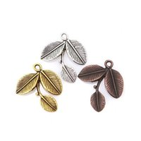 antique bronze jewelry findings - Antique Silver Gold Bronze Alloy Jewelry Finding Leaves Shape Pendulum Charms Pendants For DIY Making mm