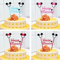 Wholesale 20styles mickey mouse theme happy birthday flag with paper straw cupcake cake topper birthday cake small flags christmas party cake flags