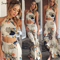 Wholesale Sexy Summer Flower Print Long Bohemian Dress Women Elegant Backless Halter Cross Maxi Sleeveless Dresses Two Pieces