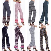 Wholesale New Autumn Long Straight Pant Women Loose Printing Elastic Waist Fashion Casual Clothing Bohemia Brand Style Women Capris M XL Hot Sale