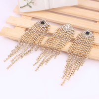 Wholesale Long tassel and diamond earrings alloy fashion Diamond Earrings crystal full diamond jewelry new lady exaggerated