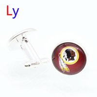 Wholesale Fashion super bowl Cufflink Washington football Cufflinks Fathers Day Gifts For Redskins Mens Jewelry Cuff Links YD0060