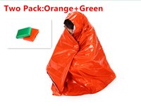Wholesale Emergency Blanket Thermal First Aid Rescue Relective PE Blanket cm cm Survival Sleeping Blanket Orange Green Pack