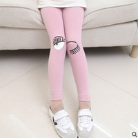Wholesale 2016 New Children Leggings Fashion Trousers Eyes Embroidery Patterns Leggings Leisure Pants Colors Size4 ly070