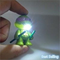 action flashlights - New Arrival LED Lighting Teenage Mutant Ninja Turtles TMNT Action Figure Toys With Sound Flashlight Keychain Birthday Christmas Gifts