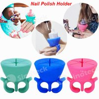 Wholesale 2016 Silicone Finger Wearable Nail Gel Polish Bottle Holder with Ring Creative Nail Art Tools Polish Varnish Bottle Display Stand Holder DHL