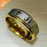 Wholesale High quality US size Stainless steel jesus letter crosses ring titanium ring fashion in Europe