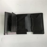 Wholesale stainless steel credit card holder mini wallet secrid reddot award top layer leather genuine quality card holder wallet