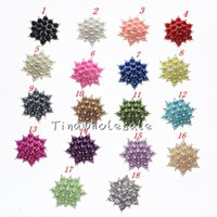 Cheap 15mm white bulk yellow red colorful flat back star shaped pearl crystal rhinestone embellishment Button for hair accessory