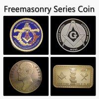 bar symbol - 4pcs Masonic series different creative small metal ornament craft Masonic symbols designs Masonic Freemasonry coin bar