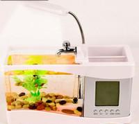 Мини ЖК-USB Desktop Aquarium Fish Tank Часы Таймер Календарь Светодиодный свет Мини ЖК-USB для рабочего стола Таймер Календарь Часы Светодиодная лампа