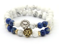 african white lions - 2016 Top Quality Bracelets mm White Howlite Blue Sea Sediment Imperial Stone Beads Gold Silver Lion Head Bracelets