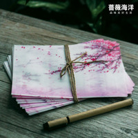Wholesale fashionable pink Japan cherry sakura blossom painting design artificial parchment paper envelope size for post card
