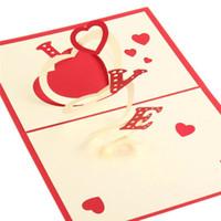 La moda pop 3D UP Estilo hecho a mano postal romántica del amor del regalo del modelo para el saludo del amante de la invitación del caramelo de Arte de papel