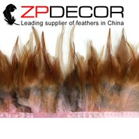 baby rooster - Factory ZPDECOR Exporting AAA Quality inch Colored Baby Pink and Light Brown Rooster Saddle Feathers Trim for Sale