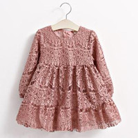 Wholesale Kids Girls Lace Dresses Spring Baby Girl Full Sleeve Pink TuTu Dress Princess Floral Embroidery Dress Children s Clothing