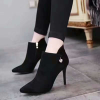 Wholesale The winter New suede tipped boots black sexy fashion high heels shoes and the single ankle boots