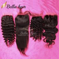 """Wholesale Cheap Hair Lace Closure Piece - Brazilian Body Wave Lace Closures Human Hair Pieces 8""""-20"""" (4*4) Top Closures Cheap Human Hair deep wave curly straight Closure"""