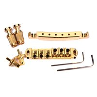 Wholesale Guitar Bridge Tailpiece Gold Pating Roller Saddle Tune O Matic LP Electric Guitar Replacement
